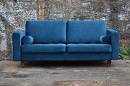 Sofa Venice Vintage Samt Blau 3 Sitzer 230 - 1