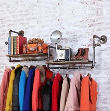 StandsL kleiderständer garderobe Retro multifunktionale wand montiert eisen rohr schmiedeeisen aufhänger wohnzimmer schlafzimmer mode wandhalter persönlichkeit industrielle wind rohr kleidung display-ständer garderobenständer - 3