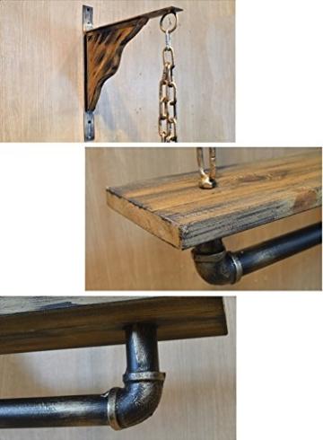 StandsL kleiderständer garderobe Vintage massivholz schlauch wand regal kleiderbügel kleiderbügel wand kette hängen aufhänger regal garderobenständer ( Farbe : A , größe : 13*130cm ) - 4