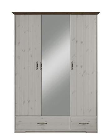 Steens 3651080269000F Hanstholm Kleiderschrank, 148 x 206 x 61 cm, Kiefer Massiv, weiß / stone - 1