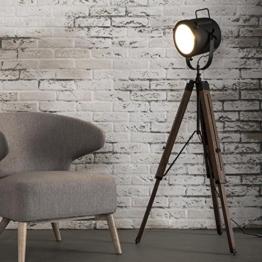 Stehlampe Chester im Industrial Design Vintage Massivholz Metall schwarz - 1