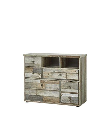 Stella Trading BZDDD01003 Sideboard Anrichte Wohnzimmerschrank, Holz, braun, 99 x 80 x 39 cm -