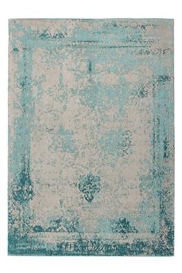 Teppich Wohnzimmer Carpet modernes Design Vintage RUG Nostalgia 285 Türkis Baumwolle 200x290cm | Teppiche günstig online kaufen - 1