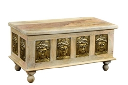The Wood Times Couchtisch Tisch Massiv Vintage Look Buddha Mangoholz, FSC Zertifiziert, LxBxH 90x45x45 cm - 1