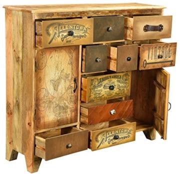 The Wood Times Kommode Schrank Massiv Vintage Look Allentown Mangoholz, FSC Zertifiziert, BxHxT 125x110x35 cm - 2