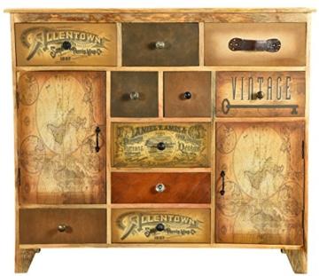 The Wood Times Kommode Schrank Massiv Vintage Look Allentown Mangoholz, FSC Zertifiziert, BxHxT 125x110x35 cm - 4