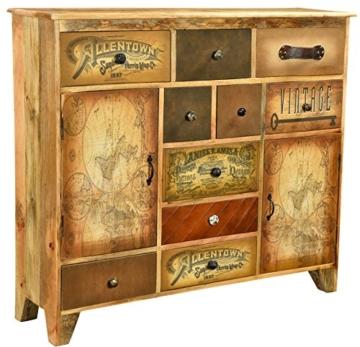 The Wood Times Kommode Schrank Massiv Vintage Look Allentown Mangoholz, FSC Zertifiziert, BxHxT 125x110x35 cm - 1
