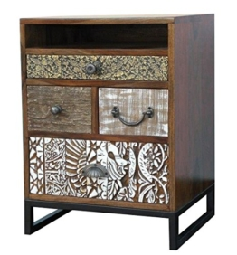 The Wood Times Kommode Schrank Massiv Vintage Look Jazz Sheeshamholz, BxHxT 45x60x35 cm - 1