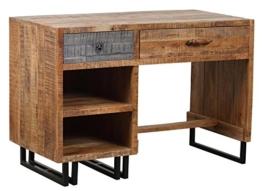 The Wood Times Schreibtisch Vintage Massiv New Rustic Mangoholz, FSC Zertifiziert, BxHxT 118x80x60 cm - 1