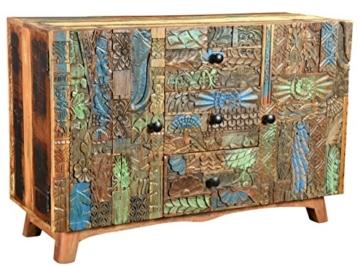 The Wood Times Sideboard Vintage Wohnzimmerschrank Massivholz Agra, FSC Recycled, BxHxT 115x80x40 cm - 2