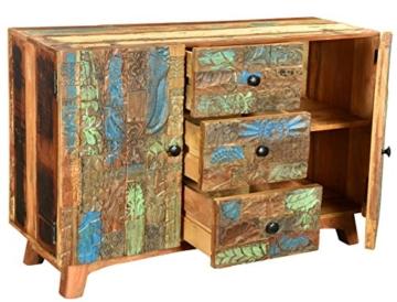 The Wood Times Sideboard Vintage Wohnzimmerschrank Massivholz Agra, FSC Recycled, BxHxT 115x80x40 cm - 3