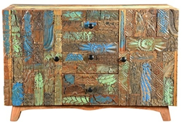 The Wood Times Sideboard Vintage Wohnzimmerschrank Massivholz Agra, FSC Recycled, BxHxT 115x80x40 cm - 1