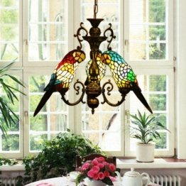 Tiffany Glasleuchter Vintage Papageien Restaurant Terrassencaf Bars und Clubs Kronleuchter Gang,E27*3 - 1