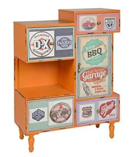 ts-ideen Kommode Regal Schrank Minibar Ablage Vintage Antik Industrie Design Used Style Holz Orange mit 4 bunten Schubladen Fach und Tür - 1