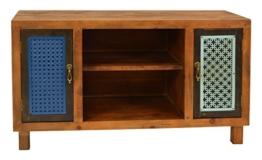 ts-ideen TV-Bank Lowboard Sideboard Kommode HiFi-Schrank Regal Flur Diele Wohnzimmer Vintage Antik Shabby Design Used Style massiv Holz braun zwei Türen mit buntem Muster - 1
