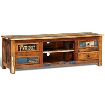 vidaXL Antik TV Hifi Rack Lowboard Sideboard Fernsehtisch Vintage Holz Teak Retro 4 - 2