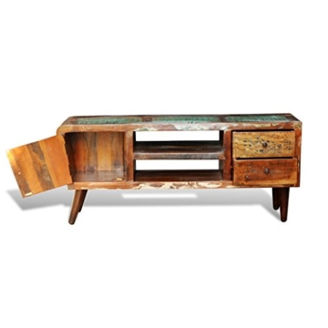 vidaXL Antik TV Hifi Rack Lowboard Sideboard Fernsehtisch Vintage Holz Teak Retro 2 - 4