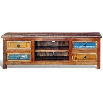vidaXL Antik TV Hifi Rack Lowboard Sideboard Fernsehtisch Vintage Holz Teak Retro 4 - 6
