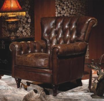 Vintage Echtleder Chesterfield Ledersessel Braun Design Lounge Ohrensessel Leder Club Sessel 449 - 1