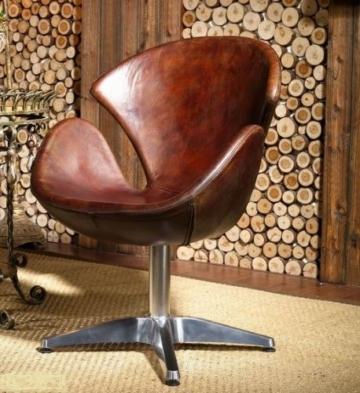 Vintage Echtleder Sessel Retro Ledersessel Braun Drehsessel Loft Ohrensessel Sessel Lounge Clubsessel Möbel Drehsessel 435 -