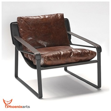Vintage Relaxsessel Echtleder Sessel Design Lounge Ledersessel Braun Clubsessel Sofa 457 - 2