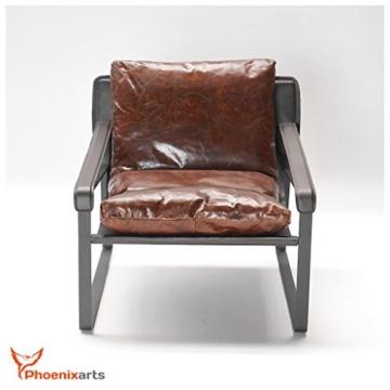 Vintage Relaxsessel Echtleder Sessel Design Lounge Ledersessel Braun Clubsessel Sofa 457 - 3