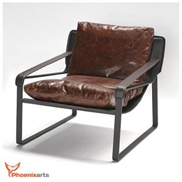 Vintage Relaxsessel Echtleder Sessel Design Lounge Ledersessel Braun Clubsessel Sofa 457 - 4