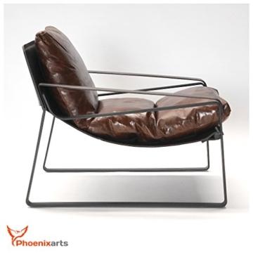 Vintage Relaxsessel Echtleder Sessel Design Lounge Ledersessel Braun Clubsessel Sofa 457 - 1
