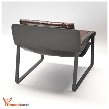 Vintage Relaxsessel Echtleder Sessel Design Lounge Ledersessel Braun Clubsessel Sofa 457 - 5