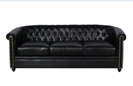 Vintage Sofa Chesterfield Eton 3 Sitzer schwarz - 1