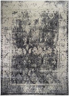 Vintageteppich Rossini in verschiedenen Designs, gewebter Teppich in hoher Qualität, pflegeleicht, Größe:160x235cm, Farbe:Grau - 1