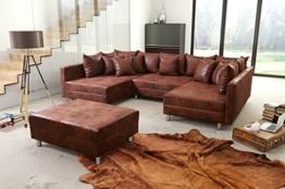 Wohnlandschaft Sofa Couch Ecksofa Eckcouch in Mikrofaser Vintage braun Minsk XXL - 1