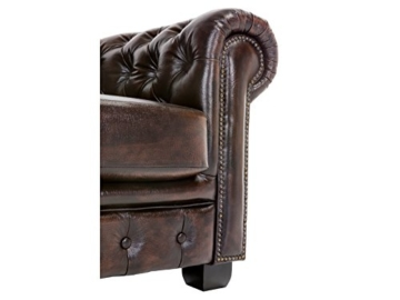 Woodkings® Chesterfield Sessel braun vintage Echtleder Bürosessel Polstermöbel antik Designsessel Federkern unikat Herrenzimmer englisches Leder Stilsessel - 2