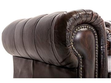 Woodkings® Chesterfield Sessel braun vintage Echtleder Bürosessel Polstermöbel antik Designsessel Federkern unikat Herrenzimmer englisches Leder Stilsessel - 3