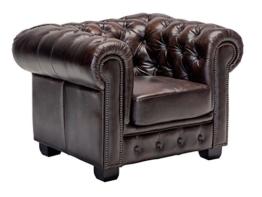 Woodkings® Chesterfield Sessel braun vintage Echtleder Bürosessel Polstermöbel antik Designsessel Federkern unikat Herrenzimmer englisches Leder Stilsessel - 1