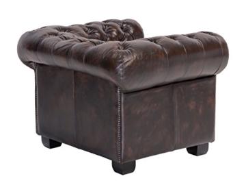 Woodkings® Chesterfield Sessel braun vintage Echtleder Bürosessel Polstermöbel antik Designsessel Federkern unikat Herrenzimmer englisches Leder Stilsessel - 5