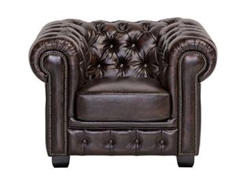 Woodkings® Chesterfield Sessel braun vintage Echtleder Bürosessel Polstermöbel antik Designsessel Federkern unikat Herrenzimmer englisches Leder Stilsessel - 6