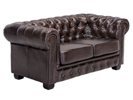Woodkings® Chesterfield Sofa 2-Sitzer braun vintage Echtleder Couch Bürosofa Polstermöbel 2er antik Unikat Herrenzimmer englisches Ledersofa Stilsofa - 1