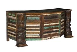 Woodkings® Schreibtisch Wakefield 184cm, recyceltes Massivholz antik Teak, Arbeitstisch, Bürotisch vintage Design Büromöbel Computertisch, Chefschreibtisch, Office desk - 1