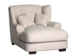 XXL-Sessel / Cremefarbener Polstersessel mit Massivholzfüßen, großer Sitzfläche, Polsterung und 2 weichen Zierkissen / 120x99x145 (BxHxT) - 1