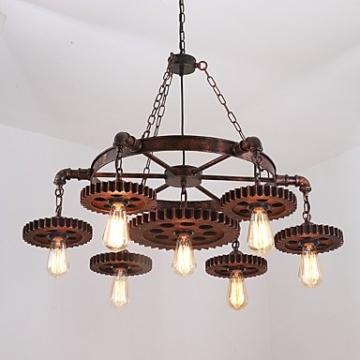 XZX Home 7 kopf vintage holz getriebe pendelleuchten loft kreative industrielle lampe wohnzimmer restaurant bars , 110-120v - 3
