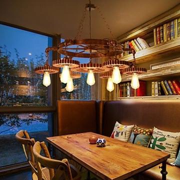 XZX Home 7 kopf vintage holz getriebe pendelleuchten loft kreative industrielle lampe wohnzimmer restaurant bars , 110-120v - 5
