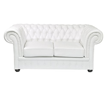 classic chesterfield 2 sitzer weiss sofa outlet. Black Bedroom Furniture Sets. Home Design Ideas
