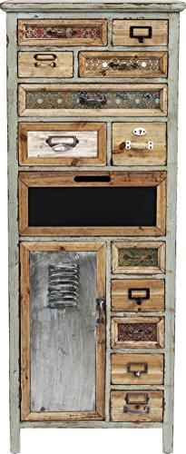 kare goa 81576 schmale hohe kommode in shabby chic vintage optik mit 13 schubladen braun h. Black Bedroom Furniture Sets. Home Design Ideas